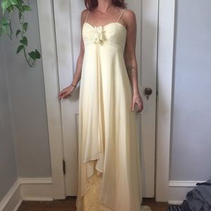 Badgley Mischka Yellow Train Bridesmaids Dress